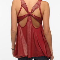 Pins and Needles Cross-Back Shimmer Tank Top