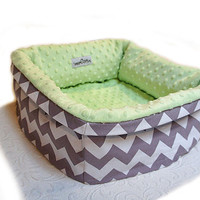 Gray Zig Zag Pet Bed CUSTOM Small 12 Inch Square 37 Color Choice Dog Cat Couture Artistic Travel Collapsible Washable