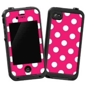 """White Polka Dot on Raspberry """"Protective Decal Skin"""" for LifeProof 4/4S Case: Electronics"""