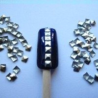 Nail Art 300 Pieces Gold & Silver 3mm Square Metal Studs for Nails, Cellphones