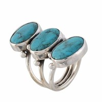 Arvino Three Stone 925 Sterling Silver Ring With Turquoise Gemstone