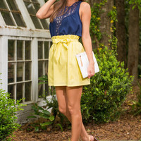 Tied With A Bow Skirt, Yellow