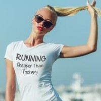 Running, Cheaper Than Therapy Funny Fitness t-shirts