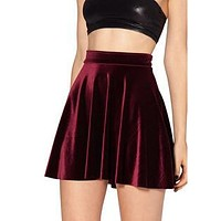 East Velvet Pleated Skirts