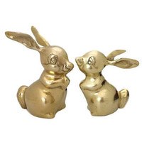 Brass Bunny Rabbit Figurines Pair Vintage Hare Woodland Animal Statue Gold Home Office Nursery Kids Room Decor Thumper Style Theme Easter