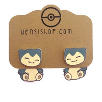 Chibi Snorlax (Pokemon Inspired) Cling Earrings