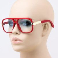 Elite Mens CLASSIC 80's VINTAGE RETRO Style Clear Lens EYE GLASSES Red Frame NEW
