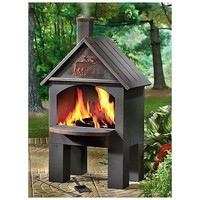 Wood Cooking Cabin Deck Fireplace Patio Camp Heating BBQ Grill Fire Pit Friends