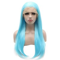 Iewig Long Straight Synthetic Lace Front Half Hand Tied Light Blue Wig