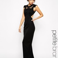 Jarlo Petite mesh Yoke Maxi Dress With Shoulder Detail
