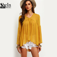 SheIn Latest Designs Streetwear Style Brand Women Shirts Yellow Bell Sleeve Round Neck Ruffle Casual Blouse