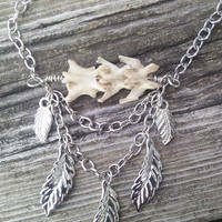 Bone Necklace,Real animal Bone jewelry,Ladies Vertebrae Necklace,Spine Jewelry,Shamans necklace,Wiccan Pagan Tribal Necklace, Leaf Leaves