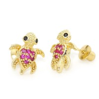 14k Gold Plated Brass Red Turtle Screwback Girls Earrings with Sterling Silver Post