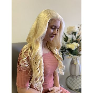 """Blonde Human hair FULL LACE wig 24"""""""