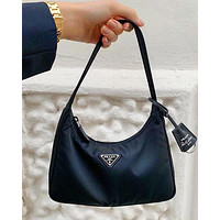 Onewel PRADA 2020 New Nylon Retro Hobo-Underarm Bag-Leisure-Crescent Crossbody Bag Black