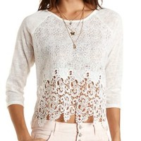 Crochet Sweater Knit Top by Charlotte Russe - White
