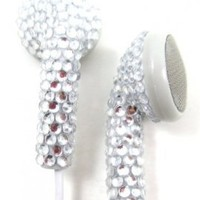 Silver (White Cord) Crystal Rhinestone Earphones Earbuds with Microphone:Amazon:Everything Else