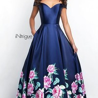 Off-the-Shoulder Long Prom Dress with Floral Print