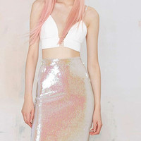 Pink Sequined Pencil Mid Skirt