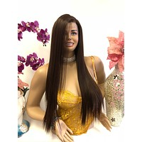 "Brown Brunette Balayage Ombré Swiss Long Lace Front Wig | 30"" Esperanza 818 21"