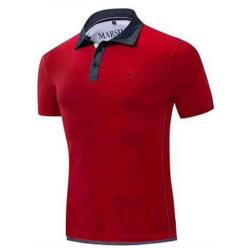 Fashion Casual Men Embroidery Contrast Collar Polo Shirt