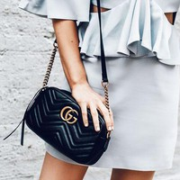 Gucci sells ladies'double G wave small waistpacks with oblique bags #4