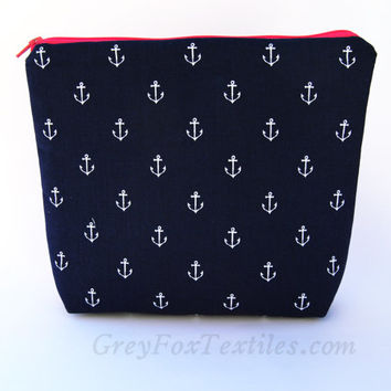 Large #navy #blue and #white #anchor #cosmetic case made with designer cotton fabric accented with hot pink zipper