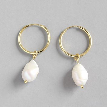 18K Gold Plated S925 Sterling Silver Baroque Freshwater Pearl Earrings Minimalist Jewelry