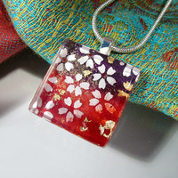 Japanese Yuzen Paper Collage Necklace - 1 by Chaerea