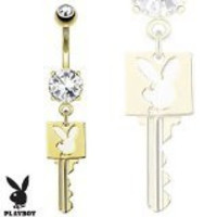 Key with Playboy Bunny Die-Cut Dangle 14kt Gold Plated Navel Belly Button Ring