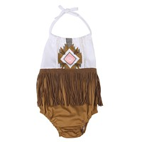 born Infant Baby Girls Boys Sleeveless Tassel Romper Backless Cute Jumpsuit Outfit Clothes Baby Girl
