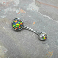Fire Opal Belly Button Jewelry Ring