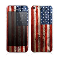 The Wooden Grungy American Flag Skin for the Apple iPhone 5s