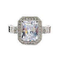 Aurelia 3CT Emerald Cut Halo IOBI Simulated Diamond Ring For Woman
