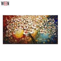 Handpainted Oil Painting Home Decoration Canvas Wall Art Abstract Painting Modern Drawing Flowers Tree Palette Knife No Frame