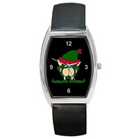 Christmas Naughty Elf on a Womens or Girl Barrel Watch with Leather Band