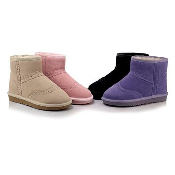 Warm Genuine Leather Flat Women Snow Boots 9284