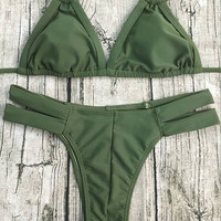 Army Green Halter String Bikini
