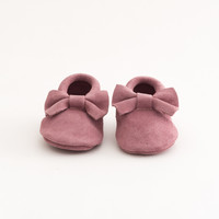 Bow Baby Leather Suede Moccasins Purple Rain