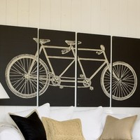 Tandem Bicycle Stretched Canvas, Set of 4
