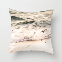 Throw Pillow Cover - Piping Plovers at Twilight