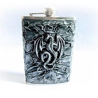 Silver Hip Flask Mens Gift Groomsmen Flask Stainless Steel Antique Flask 9 oz Best Man Flask Groomsmen Gift Wedding Party Bachelor Party