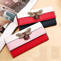 2018 Women Designer Genuine Leather Wallet Famous Brands Bee Purse Ladies Long Leather Wallet Luxury Female Tri-color Bag