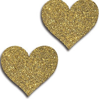 Gold Glitter Heart Pasties