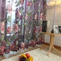 Home Textile Flower Embroidered luxury 3D Voile Curtains fabric Tulle Sheer Curtains For Kitchen Bedroom Living Room