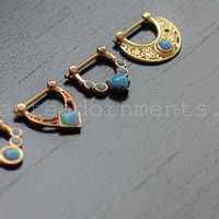 16g 14k Gold Septum Clickers with Blue Opals