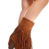 RUST SUEDE MATERIAL FRINGE ACCENT SIDE ZIPPER CASUAL BOOTS