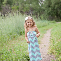 Girls Mint and Gray Chevron Cinched Bust Maxi
