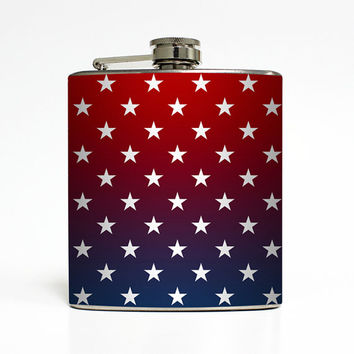American Flag Whiskey Flask Made in USA Red White Blue Stars Ombre United States Birthday Gift Stainless Steel 6 oz Liquor Hip Flask LC-1427