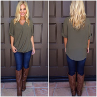 Macy Wrap Blouse - OLIVE
